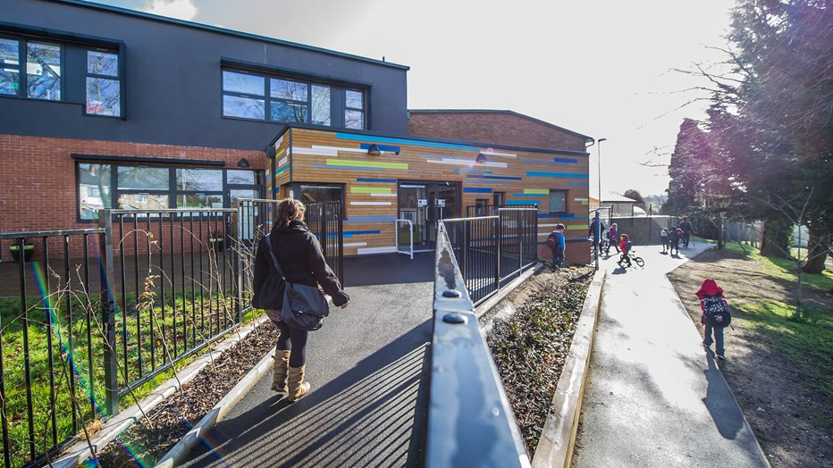 The colourful external façade at Glenfrome Primary