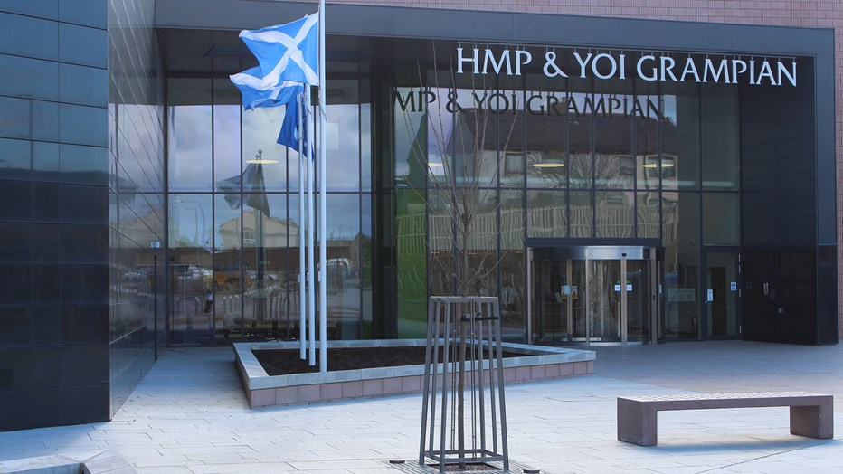 The entrance to HMP Grampian in Aberdeenshire, Scotland