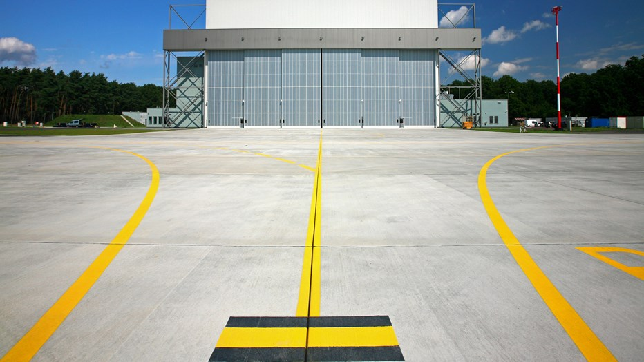 Hangar at the military airport in Powidz